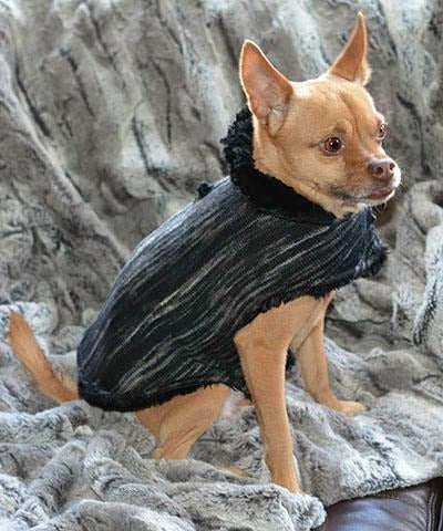 Dog Coat, Reversible - Sweet Stripes with Cuddly Faux Fur X-Small / Blackberry Cobbler / Cuddly Black Pet Accessories Pandemonium Millinery