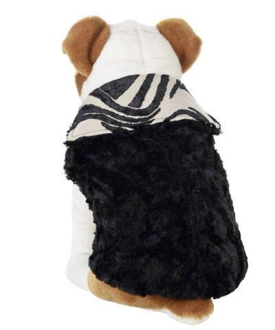 Dog Coat, Reversible - Waves Upholstery with Cuddly Faux Fur in Black