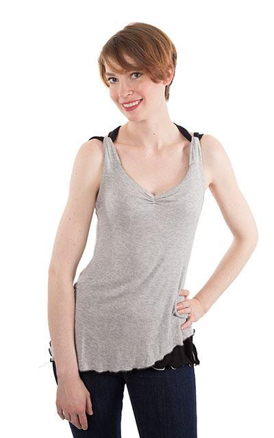 Double Tulip Top, Reversible - Silvery Moon with Assorted Jersey Knit (Only One Small Left!)