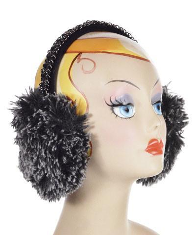 Earmuff - Fox Faux Fur Silver Tipped Black / No Chain Headbands Pandemonium Millinery