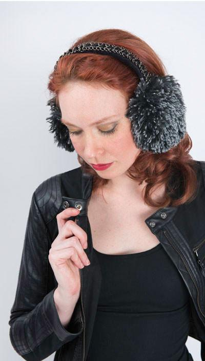 Earmuff - Fox Faux Fur Silver Tipped Black / With Chain Headbands Pandemonium Millinery
