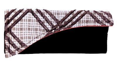 Envelope Clutch - Silver Plaid Upholstery with Black Velvet
