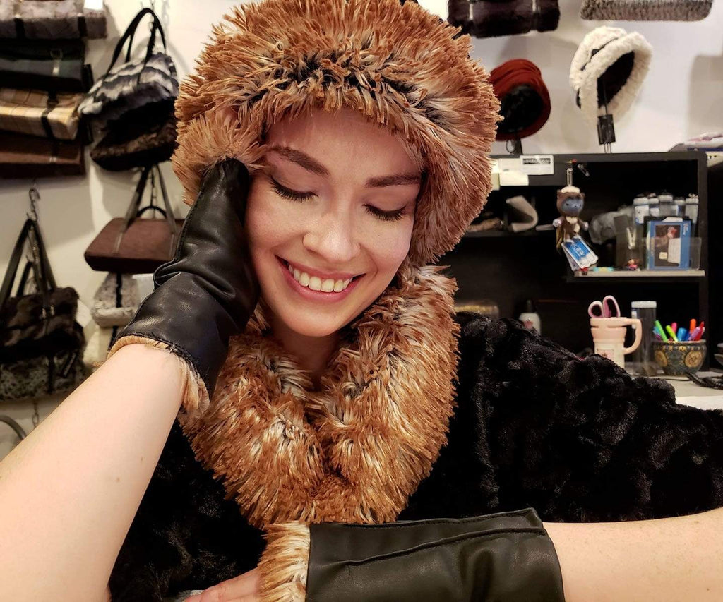 Pandemonium Millinery Fingerless / Driving Gloves - Vegan Leather in Black with Fox Faux Fur Accessories