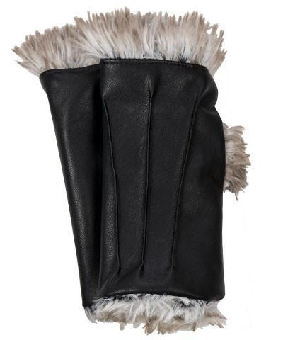 Fingerless / Driving Gloves - Vegan Leather in Black with Fox Faux Fur Vegan Black / Arctic Fox Accessories Pandemonium Millinery