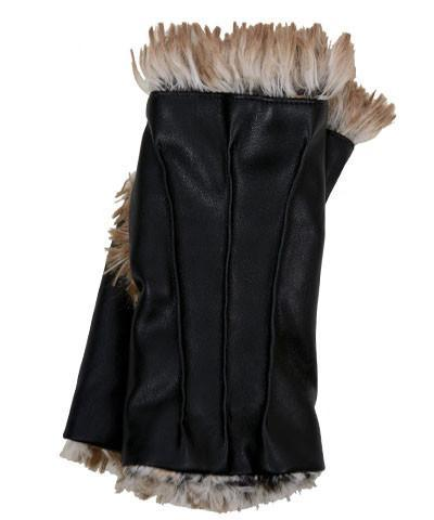 Fingerless / Driving Gloves - Vegan Leather in Black with Fox Faux Fur Vegan Black / Red Fox Accessories Pandemonium Millinery