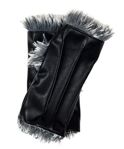 Fingerless / Driving Gloves - Vegan Leather in Black with Fox Faux Fur Vegan Black / Silver Tipped in Blue Steel Accessories Pandemonium Millinery