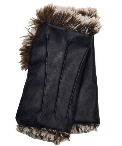 Fingerless / Driving Gloves - Vegan Leather in Black with Fox Faux Fur Vegan Black / Silver Tipped in Brown Accessories Pandemonium Millinery