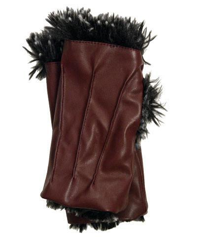 Fingerless / Driving Gloves - Vegan Leather in Bordeaux with Silver Tipped Fox Faux Fur in Black Vegan Bordeaux / Silver Tipped Fox in Black Accessories Pandemonium Millinery