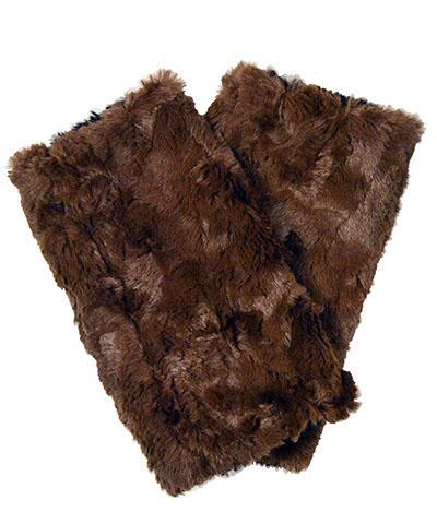 Fingerless / Driving Gloves - Vegan Leather in Camel with Cuddly Faux Fur Vegan Camel / Chocolate Accessories Pandemonium Millinery