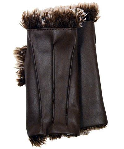 Fingerless / Driving Gloves - Vegan Leather in Chocolate with Silver Tipped Fox Faux Fur in Brown