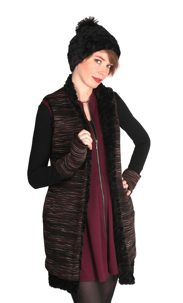 Fingerless / Texting Gloves (Mid-Length) - Sweet Stripes in Cherry Cordial with Assorted Faux Fur Cherry Cordial / Cuddly Black Accessories Pandemonium Millinery