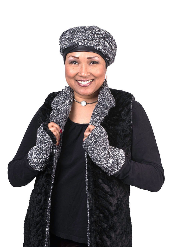 Fingerless / Texting Gloves, Reversible - Cozy Cable in Ash Faux Fur Cozy Cable Ash / Black Accessories Pandemonium Millinery