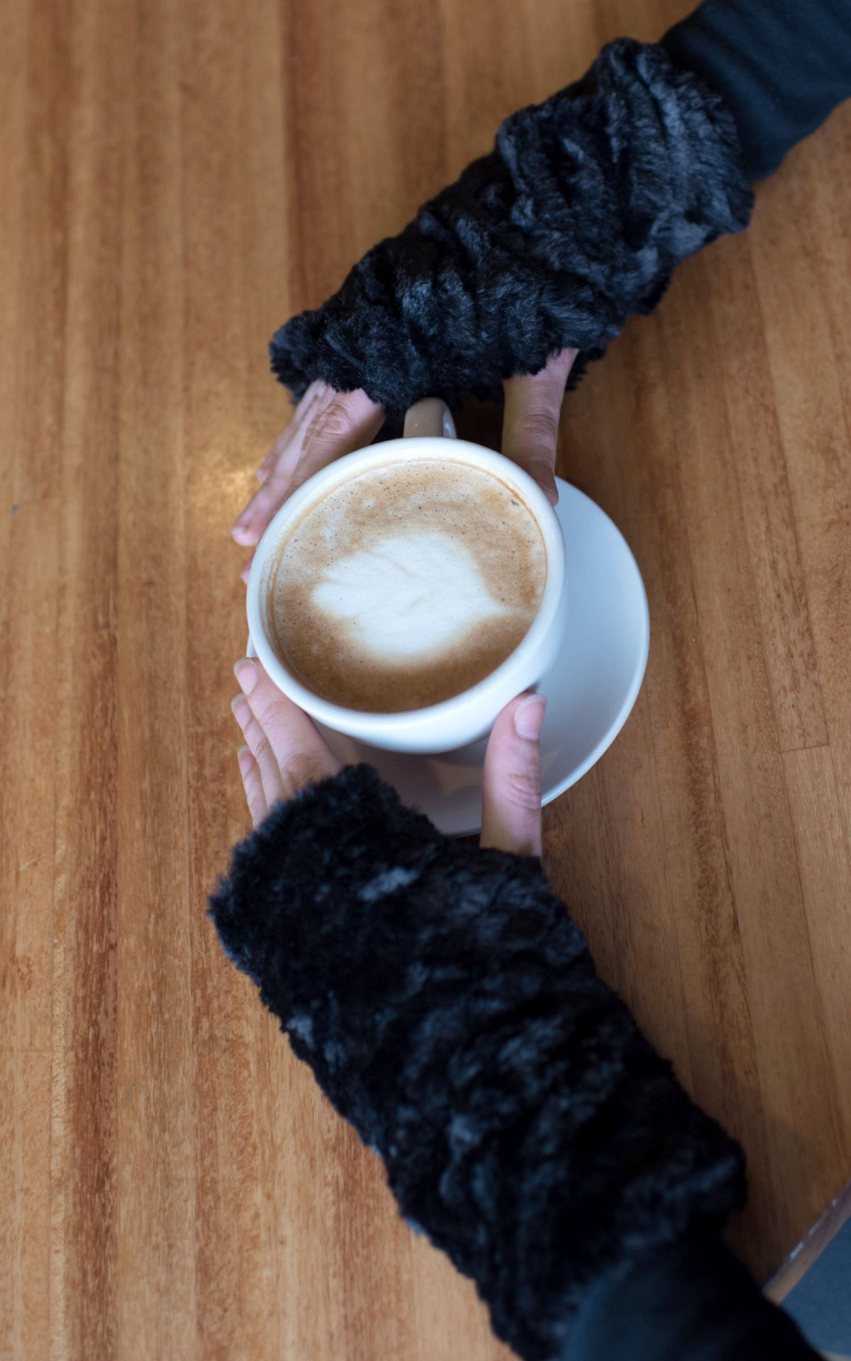 Fingerless / Texting Gloves, Reversible - Cuddly Faux Fur in Black