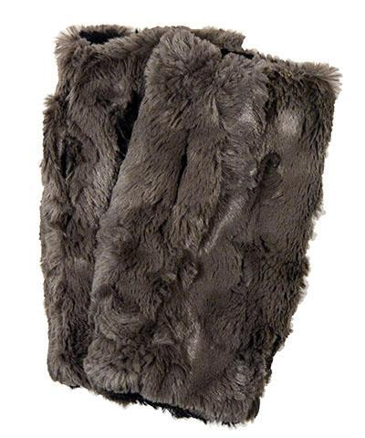 Fingerless / Texting Gloves, Reversible - Cuddly Faux Fur in Gray Gray / Black Accessories Pandemonium Millinery