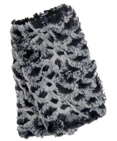 Fingerless / Texting Gloves, Reversible - Luxury Faux Fur in Snow Owl