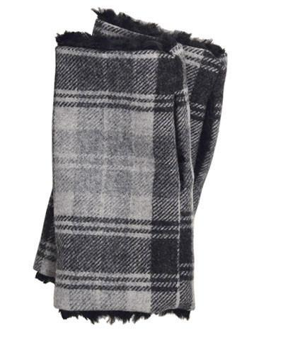 Fingerless / Texting Gloves - Wool Plaid in Twilight with Assorted Faux Fur