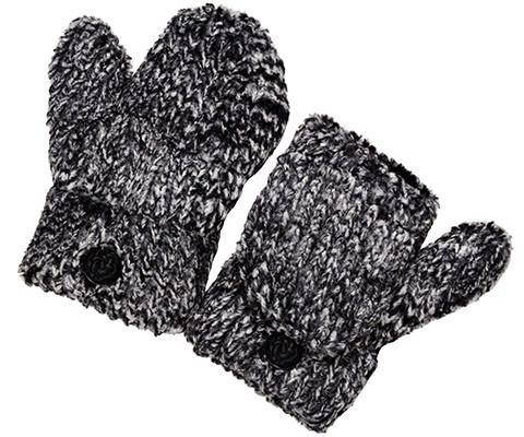 Flip Top Mittens - Cozy Cable in Ash Faux Fur Cozy Cable Ash Accessories Pandemonium Millinery