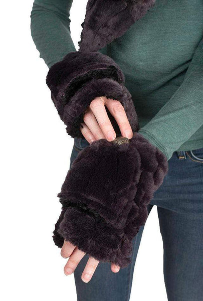 Pandemonium Millinery Flip Top Mittens - Luxury Faux Fur in Honey Badger Honey Badger Accessories