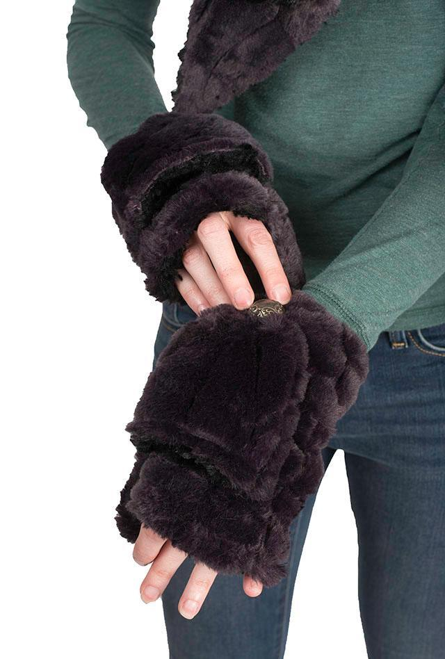Flip Top Mittens - Luxury Faux Fur in Smouldering Sequoia Smouldering Sequoia Accessories Pandemonium Millinery