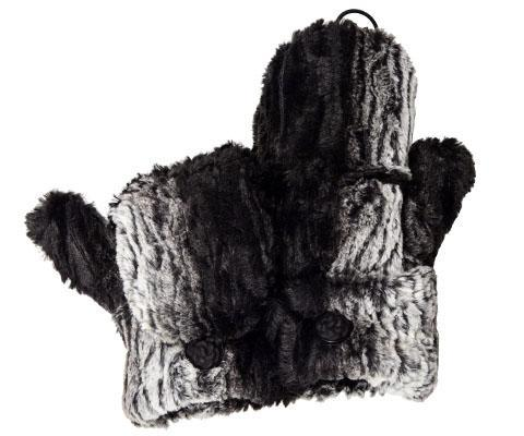Flip Top Mittens - Luxury Faux Fur in Smouldering Sequoia