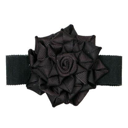 "Flower Brooch - Black Rosette 2 5/8"" / Black Hat Trims Pandemonium Millinery"