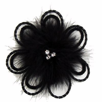 "Flower Brooch - Feathers & Cord 4.5"" / Black Hat Trims Pandemonium Millinery"