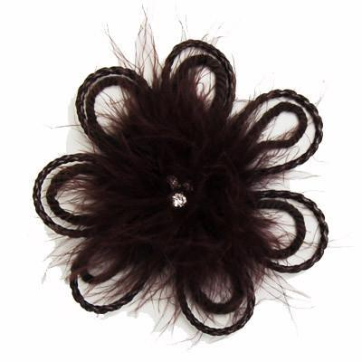 "Flower Brooch - Feathers & Cord 4.5"" / Chocolate Hat Trims Pandemonium Millinery"
