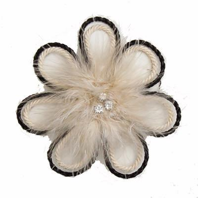 "Flower Brooch - Feathers & Cord 4.5"" / Ivory Hat Trims Pandemonium Millinery"