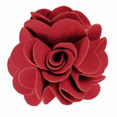 "Flower Brooch - Felt Folds 3"" / Red Hat Trims Pandemonium Millinery"