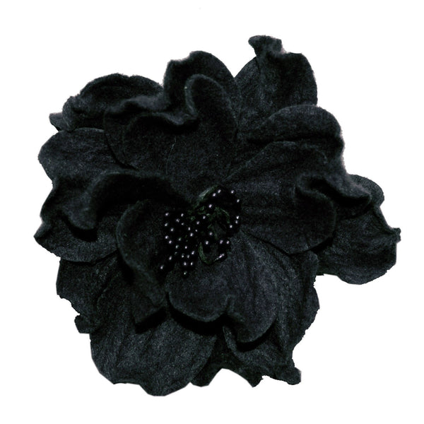 "Flower Brooch - Felt (One Black Left!) 3"" / Black Hat Trims Pandemonium Millinery"
