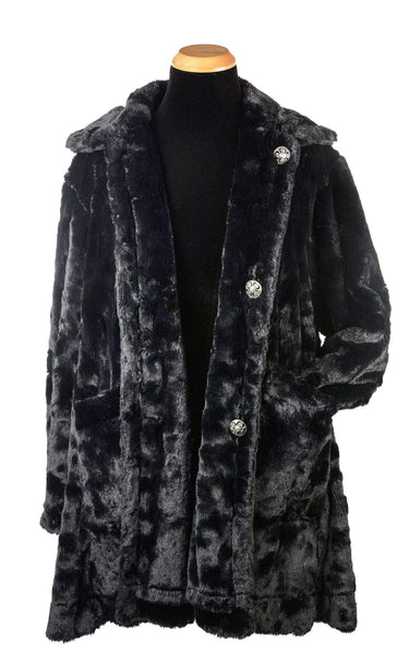 Pandemonium Millinery Garland Swing Coat - Cuddly Faux Fur in Black Seal, Solid (Only One Medium!) Medium / Black Seal Faux Fur - Solid Outerwear