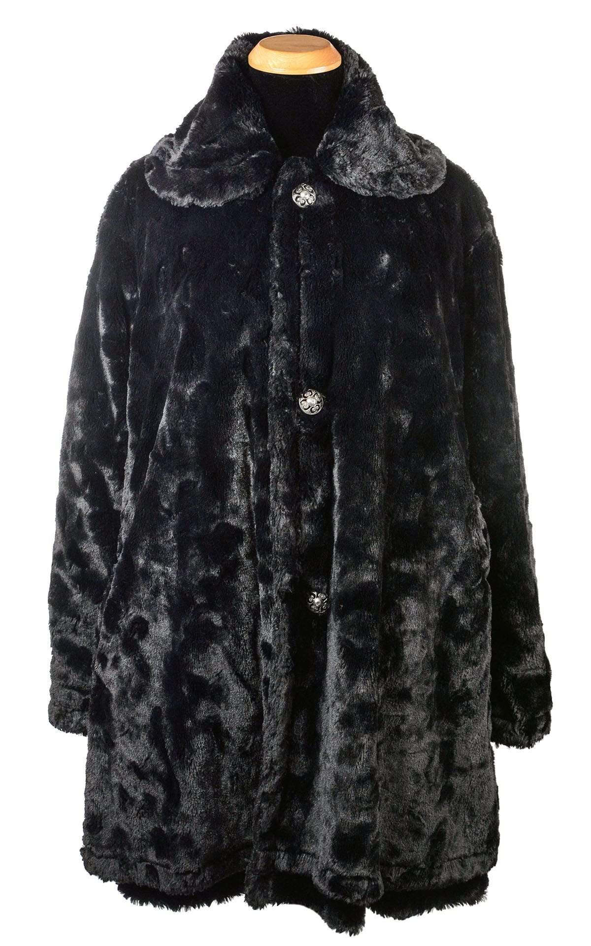Garland Swing Coat - Cuddly Faux Fur in Black Seal, Solid (Only One Medium!)
