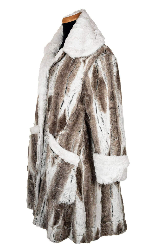 Pandemonium Millinery Garland Swing Coat - Luxury Faux Fur in Birch with Cuddly Fur in Ivory Outerwear