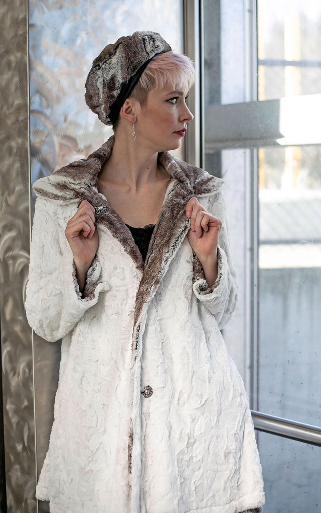 Garland Swing Coat - Luxury Faux Fur in Birch with Cuddly Fur in Ivory X-Small / Birch / Ivory Outerwear Pandemonium Millinery