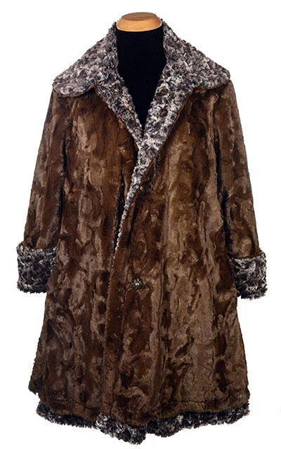 Garland Swing Coat - Luxury Faux Fur in Calico with Cuddly Fur in Chocolate X-Small / Calico / Chocolate Outerwear Pandemonium Millinery