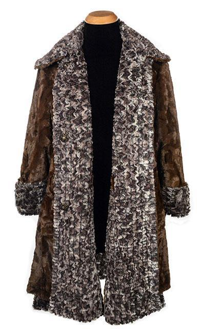 Garland Swing Coat - Luxury Faux Fur in Calico with Cuddly Fur in Chocolate
