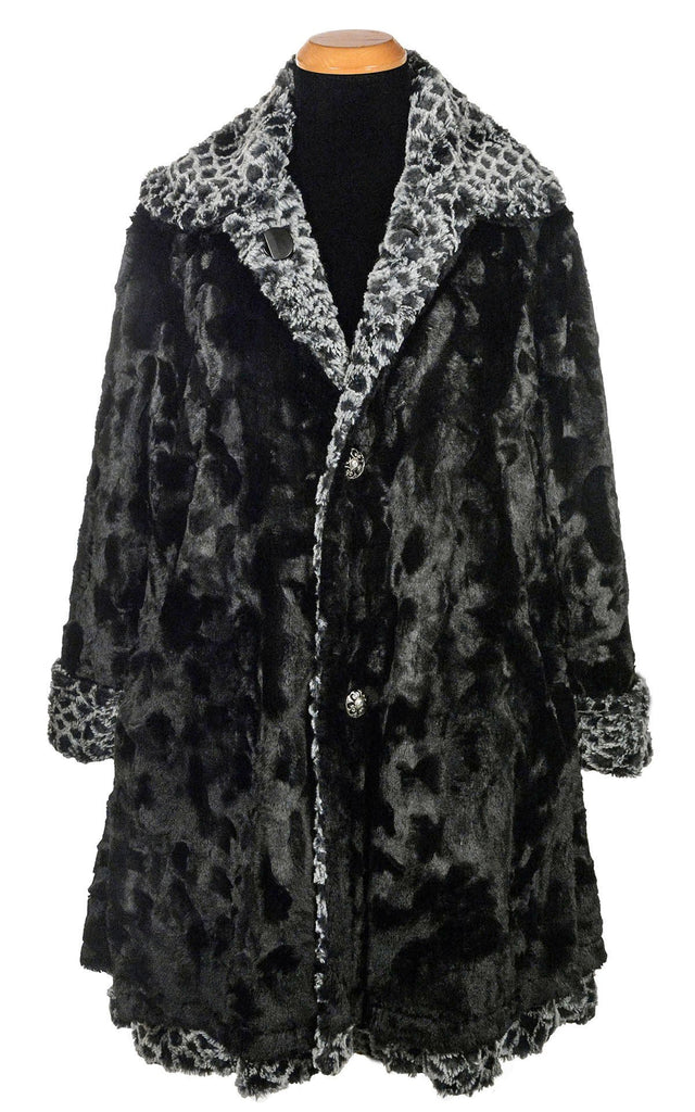 Garland Swing Coat - Luxury Faux Fur in Snow Owl with Cuddly Fur in Black X-Small / Snow Owl / Black Outerwear Pandemonium Millinery
