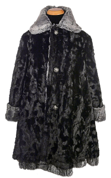 Garland Swing Coat - Luxury Faux Fur in Stormy Night with Cuddly Fur in Black X-Small / Stormy Night / Black Outerwear Pandemonium Millinery