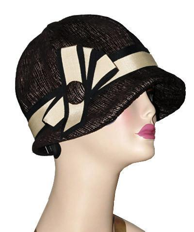 Grace Cloche Style Hat - Bongo in Black/Beige Upholstery Medium / Black & Beige Band & Bow Trim Hats Pandemonium Millinery