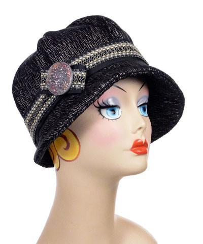Grace Cloche Style Hat - Bongo in Black/Beige Upholstery Medium / Hat Only Hats Pandemonium Millinery