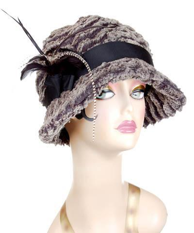 Grace Cloche Style Hat - Desert Sand Faux Fur in Charcoal Medium / Grosgrain Band - Black / Feather - Black & Grizzly Hats Pandemonium Millinery