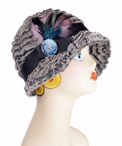 Grace Cloche Style Hat - Desert Sand Faux Fur in Charcoal Medium / 1 & F59-B14AQUA Hats Pandemonium Millinery