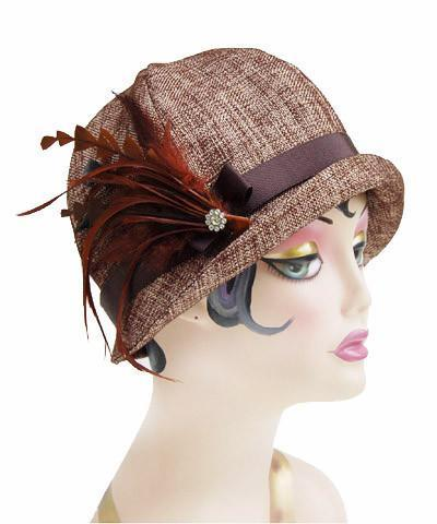 Grace Cloche Style Hat - Liam in Brown Upholstery