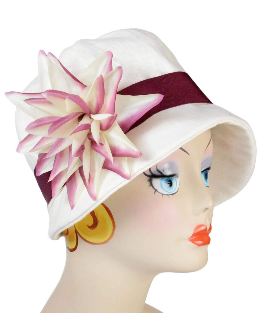 Pandemonium Millinery Grace Cloche Style Hat - Linen in Seashell Hats