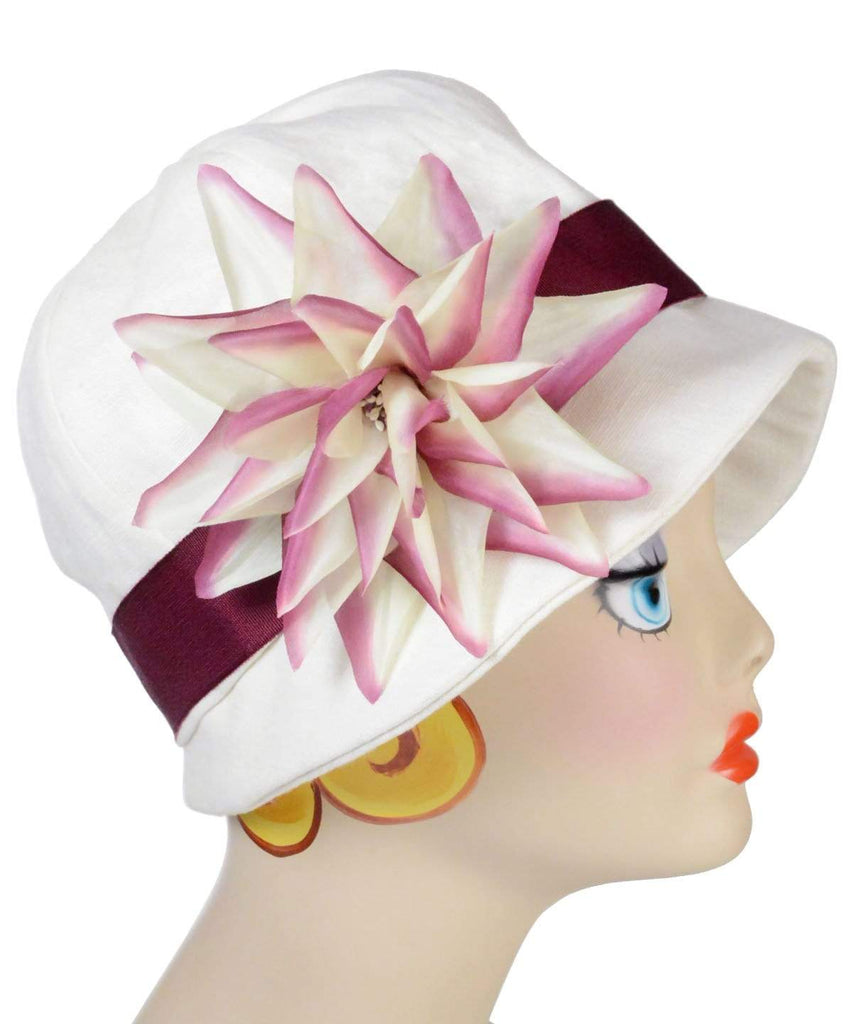 Pandemonium Millinery Grace Cloche Style Hat - Linen in Seashell Medium / Grosgrain Band – Burgundy  / Custom Large White and Pink Flower  Brooch 20-F37WHT/PINK Hats