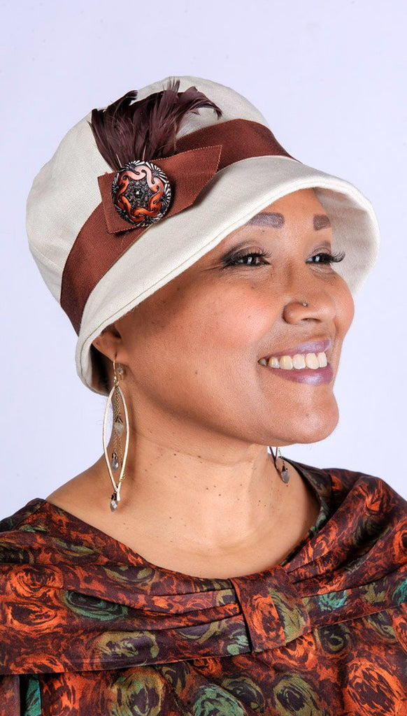 Grace Cloche Style Hat - Linen in Seashell Medium / 6 & F58-B14RST Hats Pandemonium Millinery
