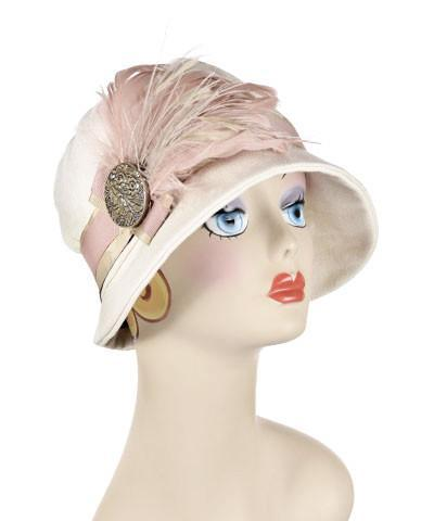 Grace Cloche Style Hat - Linen in Seashell Medium / Hat Only Hats Pandemonium Millinery