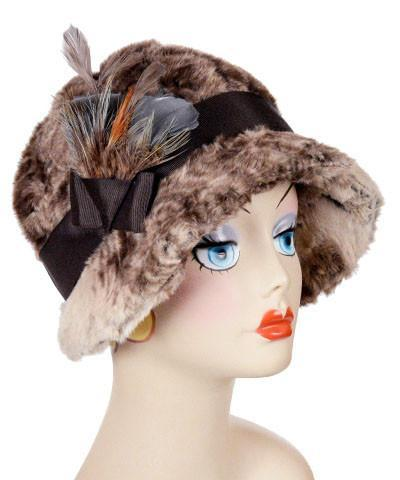Grace Cloche Style Hat - Luxury Faux Fur in Fawn Medium / Grosgrain Band - Chocolate / Feather - Steel/Pheasant Hats Pandemonium Millinery