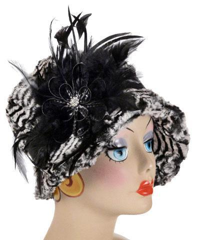 Grace Cloche Style Hat - Luxury Faux Fur in Tipsy Zebra (Button B16-06 SOLD OUT) Medium / 1 & Trim 53-1 Hats Pandemonium Millinery