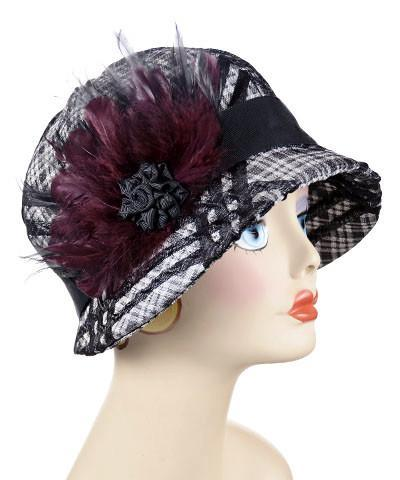 Grace Cloche Style Hat - Silver Plaid Upholstery